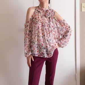 Zara ruffled floral cold shoulder blouse.
